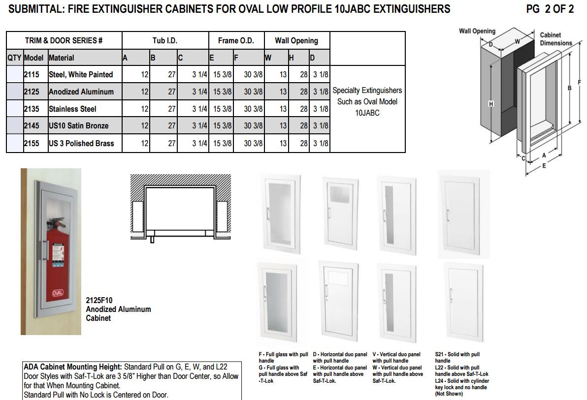 oval fire extinguisher cabinet spec sheet2