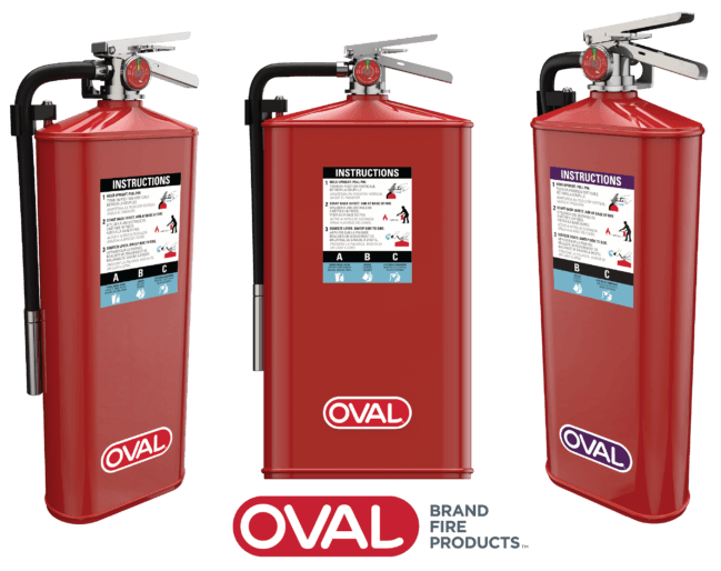 ABC and Purple K Oval Fire Extinguishers