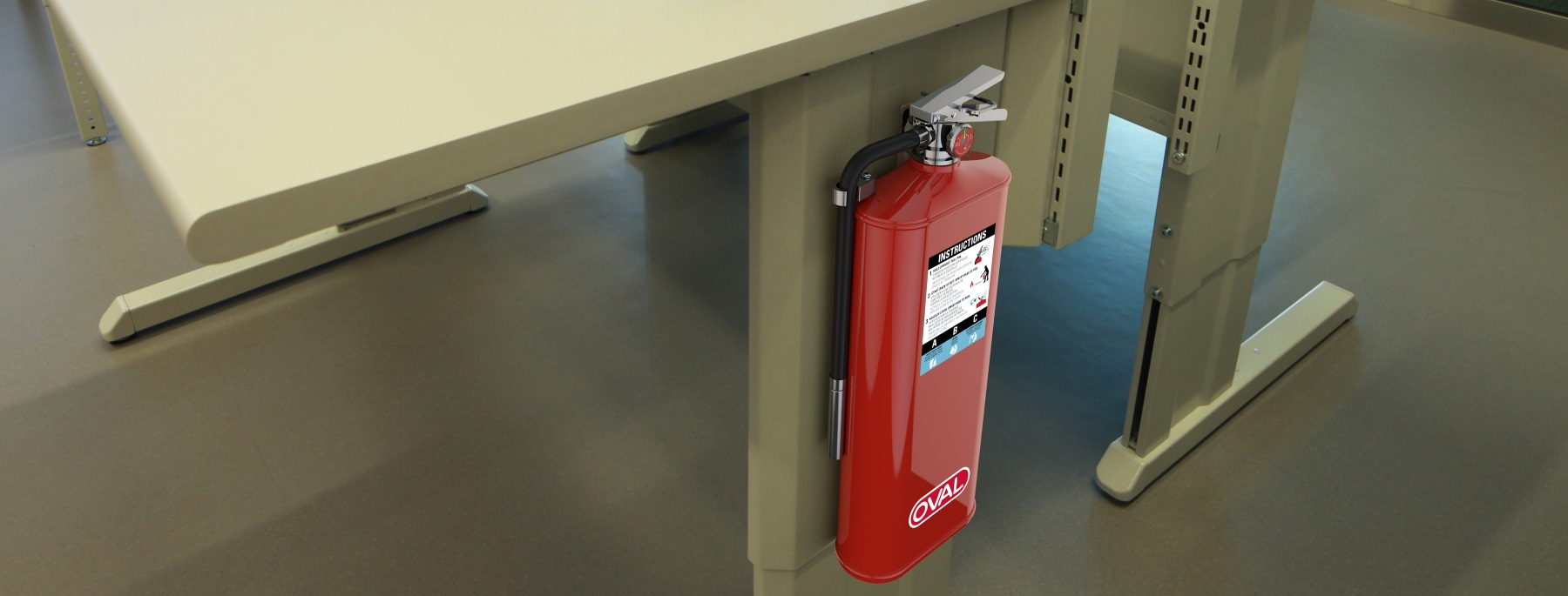 Oval Fire Extinguisher attached to a desk