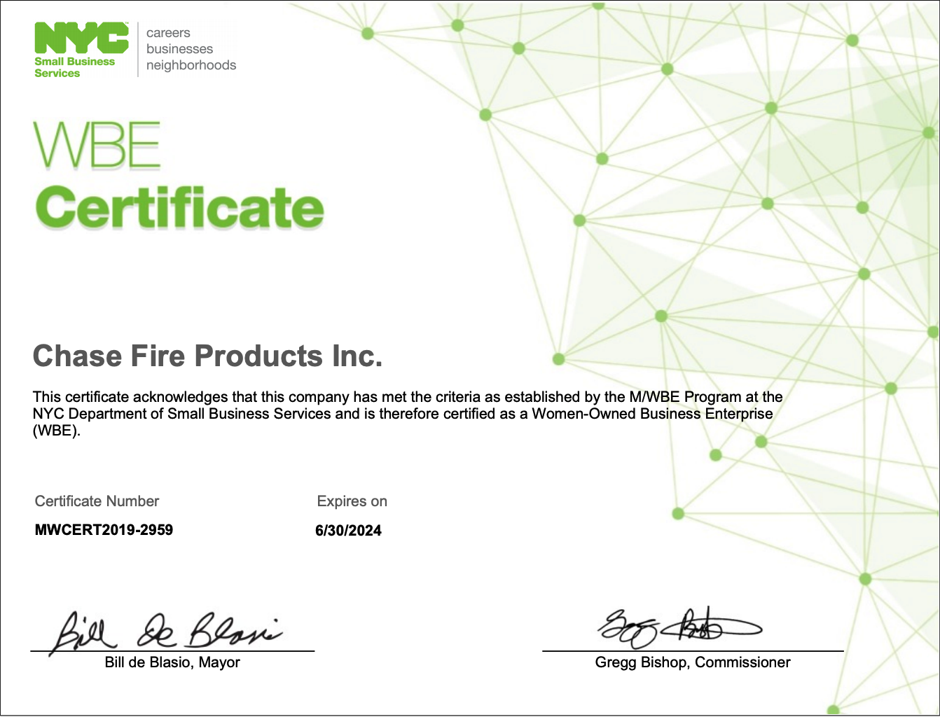 nyc wbe certified fire service