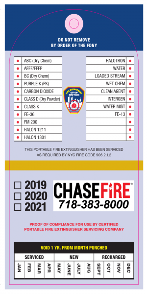 New FDNY Fire Extinguisher Tag from Yearly Inspection